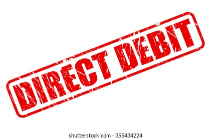 DIRECT DEBIT red stamp text on white