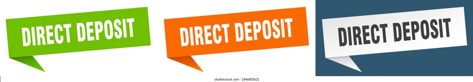 direct deposit banner sign. direct deposit speech bubble label set