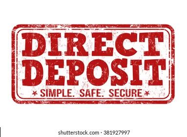Direct deposit grunge rubber stamp on white background, vector illustration