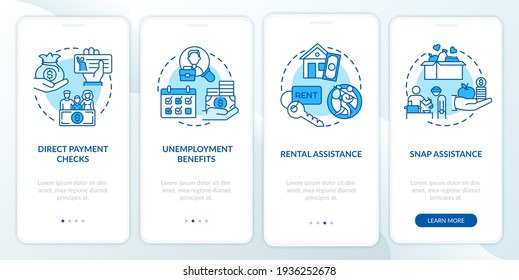 Direct payment checks onboarding mobile app page screen with concepts. Covid relief package benefits walkthrough 4 steps graphic instructions. UI vector template with RGB color illustrations