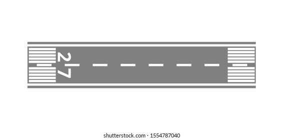 Direct runway at the airport for aircraft landing from the air. Runway top view, transport and travel concept. Isolated vector flat illustration.
