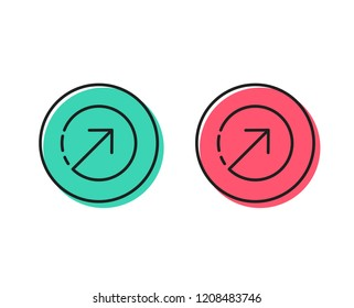 Direction arrow line icon. Arrowhead symbol. Navigation pointer sign. Positive and negative circle buttons concept. Good or bad symbols. Direction Vector
