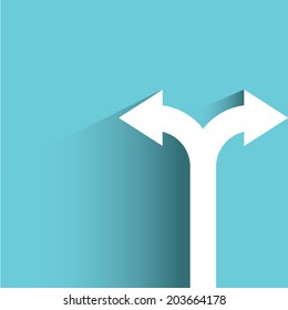 direction arrow sign, decision making concept, blue background, flat and shadow theme