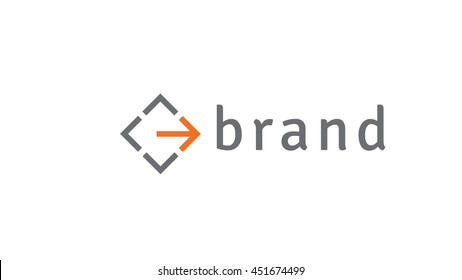 Direction arrow vector logo template. Movement brand identity (sign, symbol, icon)