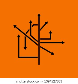 Direction Arrows Icon. Black on Orange Background. Vector Illustration.