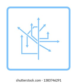 Direction Arrows Icon. Blue Frame Design. Vector Illustration.