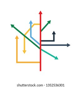 Direction Arrows Icon. Flat color design. Startup series. Vector illustration.