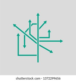 Direction Arrows Icon. Green on Gray Background. Vector Illustration.