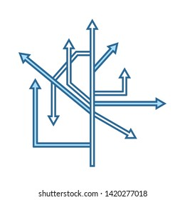 Direction Arrows Icon. Thin Line With Blue Fill Design. Vector Illustration.