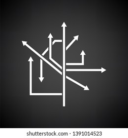 Direction Arrows Icon. White on Black Background. Vector Illustration.