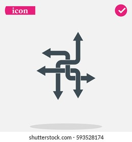 Direction arrows sign. Movement in an unknown direction. Uncertainty choice. Crossroad choice vector icon.