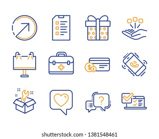 Direction, Consolidation and Spanner icons simple set. Checklist, Road banner and Gift box signs. Heart, First aid and Payment method symbols. Question mark, Call center and Online survey. Vector