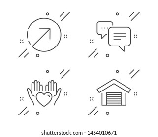 Direction, Dots message and Hold heart line icons set. Parking garage sign. Navigation pointer, Chat bubble, Care love. Car place. Line direction outline icon. Vector