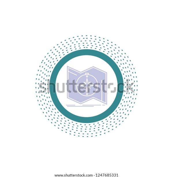 Direction Explore Map Navigate Navigation Glyph Stock Vector