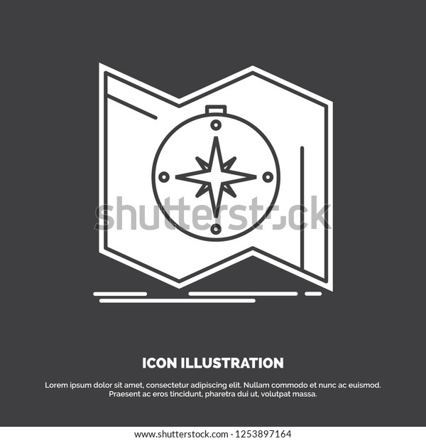 Direction Explore Map Navigate Navigation Icon Stock Vector