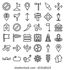 Direction icons set. set of 36 direction outline icons such as elevator, escalator up, escalator down, wind cone, tunnel, flag, man move, map location, weather vane