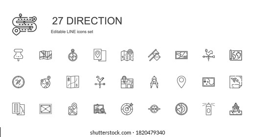 direction icons set. Collection of direction with earth, compass, dart board, map, google maps, expand, pin, weathercock, geolocalization. Editable and scalable direction icons.
