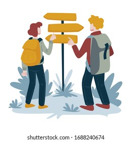 Direction pointer, hikers couple, man and woman with backpacks vector. Hiking, traveling and tourism, trekking and walking trip, searching way. Orientation in wild, recreation and sport, backpacking