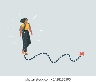 Direction pointer woman with backpacks hiking traveling and tourism trekking walking.