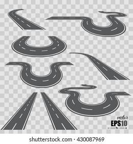 Direction road, curve road, highway road, road transportation illustration. Vector set
