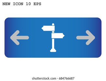 Direction road icon flat.
