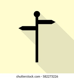 Direction road sign. Black icon with flat style shadow path on cream background.