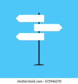 Direction road sign on light blue background in flat style