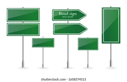 Direction sign board, road destination signs, street signage boards and green directing signboard pointer. vector illustration