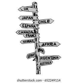Direction signs different countries. Isolated illustration. Vector