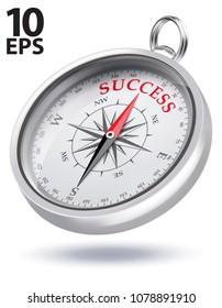 Direction to Success Conceptual Compass. Realistic vector 3d illustration