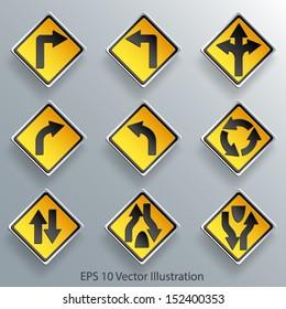 direction traffic sign 3d paper design eps 10 vector illustration