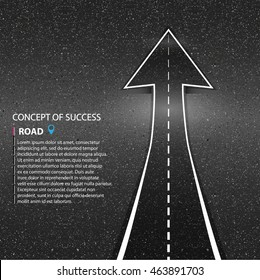 Direction of the way. Asphalt road vector texture. The concept of success