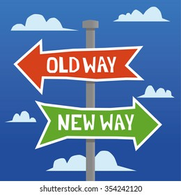 Directional arrows on a signpost in a hand drawn style with the words Old Way and New Way added in white text and a sky with clouds in the background