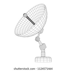 Directional radio antenna with satellite dish. Astronomy radio telescope . Wireframe low poly mesh vector illustration