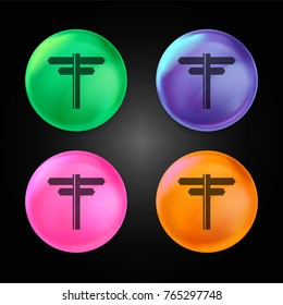 Directions arrows crystal ball design icon in green - blue - pink and orange.