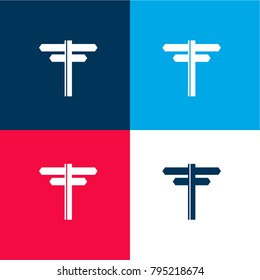 Directions arrows four color material and minimal icon logo set in red and blue