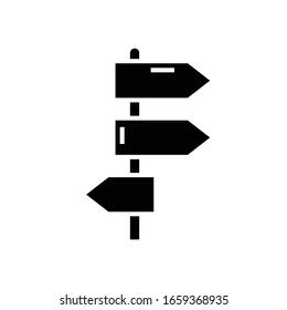 Directions black icon, concept illustration, vector flat symbol, glyph sign.