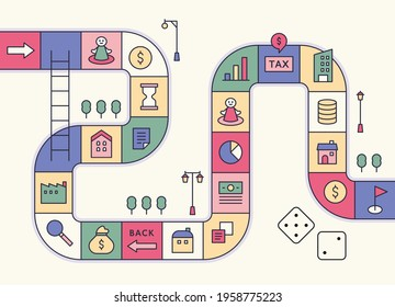 Directions game concept template. Financial icons are placed in each cell. flat design style minimal vector illustration.
