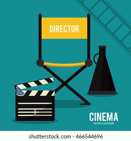 director chair claboard megaphone movie film going to cinema icon. Colorful illustration. Vector graphic