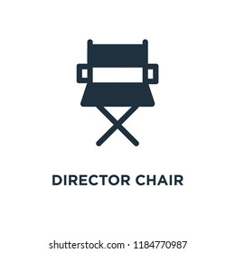 Director chair icon. Black filled vector illustration. Director chair symbol on white background. Can be used in web and mobile.