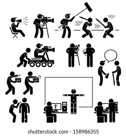 Director Making Filming Movie Production Actor Stick Figure Pictogram Icon