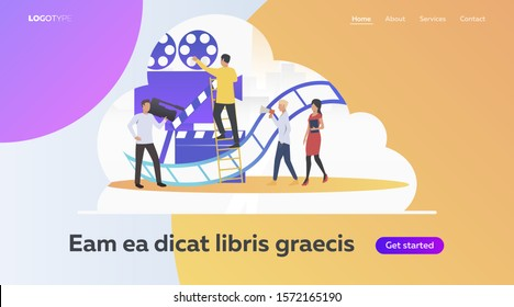 Director, producer and cameraman crew. Preproduction, videography and filmmaking flat vector illustration. Video and movie production concept for banner, website design or landing web page
