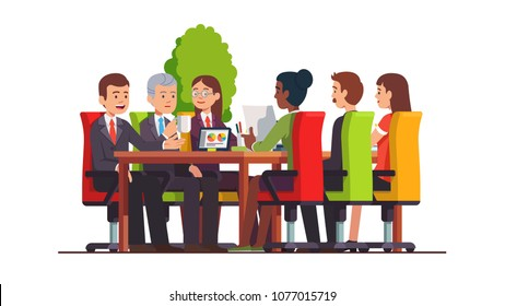 Directors board, executive colleagues discussing, planning. Businessman group meeting in board room at big conference desk. Business people teamwork. Modern business interior. Flat vector illustration