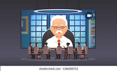 Directors board people talking to corporate company owner & ceo via video conference on big screen. Corporation leadership chief executive round table boardroom meeting flat vector illustration