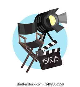Directors chair, spotlight and movie clapper board in a blue circle. Vector illustration on a white background.