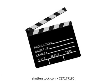 Director's cut. Black and white clapperboard or cinema ciack vector on white background. Beginning, start, movie presentation.