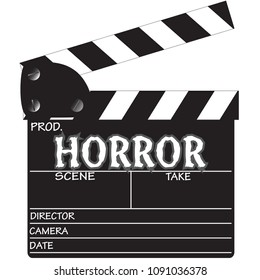 A director's 'Horror' clapper board isolated on a white background