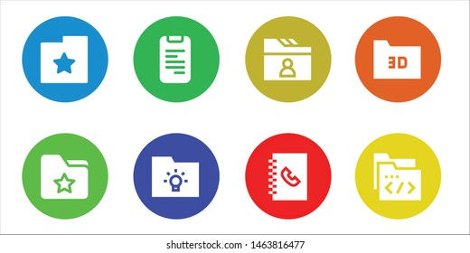 directory icon set. 8 filled directory icons.  Simple modern icons about  - Folder, Phone book