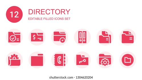 directory icon set. Collection of 12 filled directory icons included Folder, Folders, Contact book