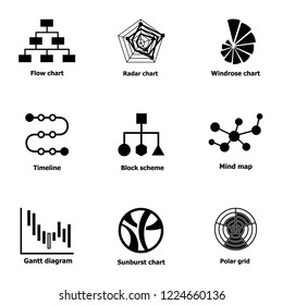 Directory icons set. Simple set of 9 directory vector icons for web isolated on white background